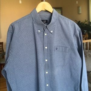 Dunhill Logo Micro Plaid Button Down Shirt Poplin